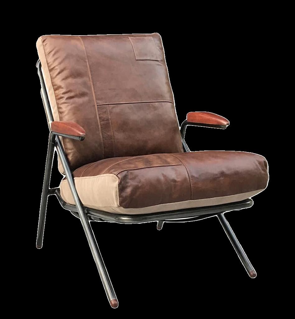 כורסא מעוצבת מעור בשילוב בד