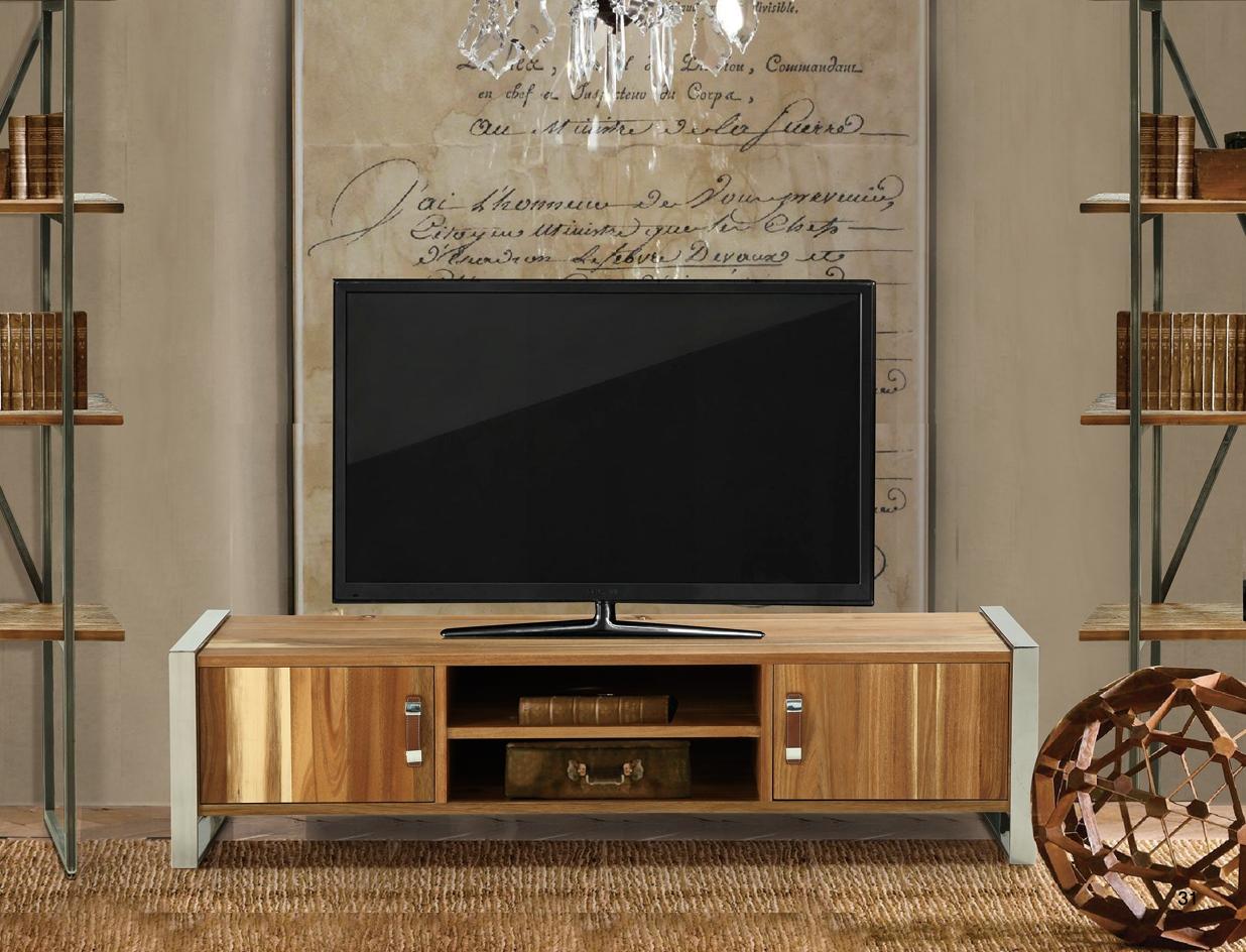 שידת טלוויזיה עץ בשילוב מתכת