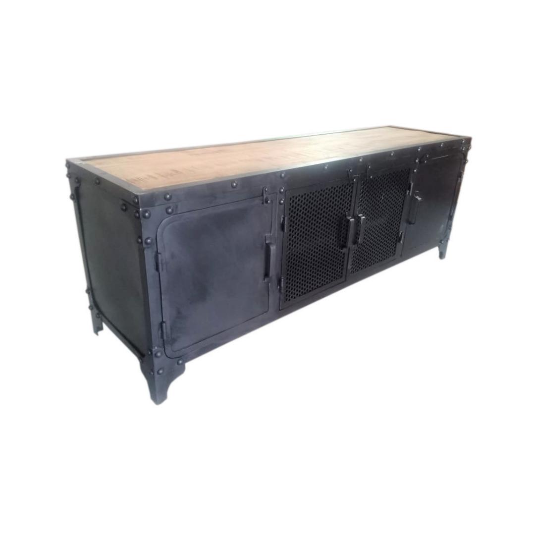 מזנון לסלון שחור עם פלטת עץ